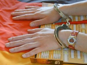 student handcuffed